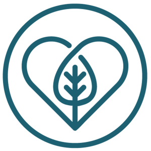 Logotyp för Vattna där det gror, föreställande ett hjärta med ett löv eller träd inuti.